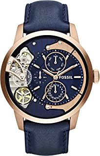 Fossil Men's Mechanical Watch, Chronograph Display and Leather Strap ME1138