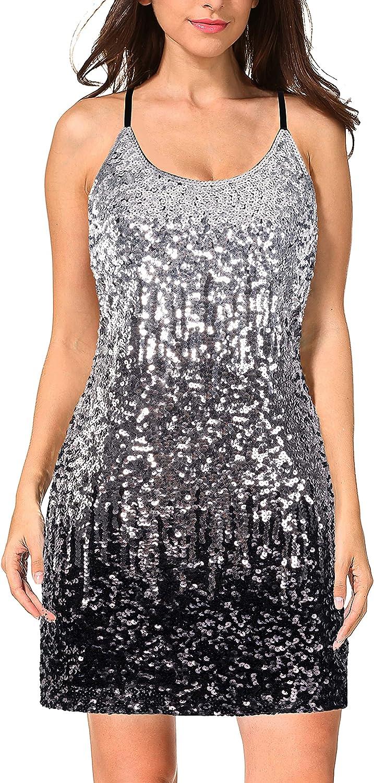 MANER Women's Glitter Sequin Dress Adjustable Spaghetti Strap Sparkle Party Dresses