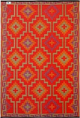 Lhasa Indoor/Outdoor Recycled Plastic Rug - Fab Habitat Australia (240x300cm, Orange & Violet)
