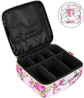 NiceEbag Travel Makeup Bag Cosmetic Bag for Women Professional Train Case Cosmetic Storage Organizer with Removable Dividers for Cosmetics Make Up Tools,Large & Cute & DIY L A-Peony/White