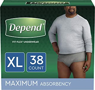 Depend FIT-FLEX Incontinence Underwear for Men, Maximum Absorbency, Disposable, X-Large, Grey, 38 Count