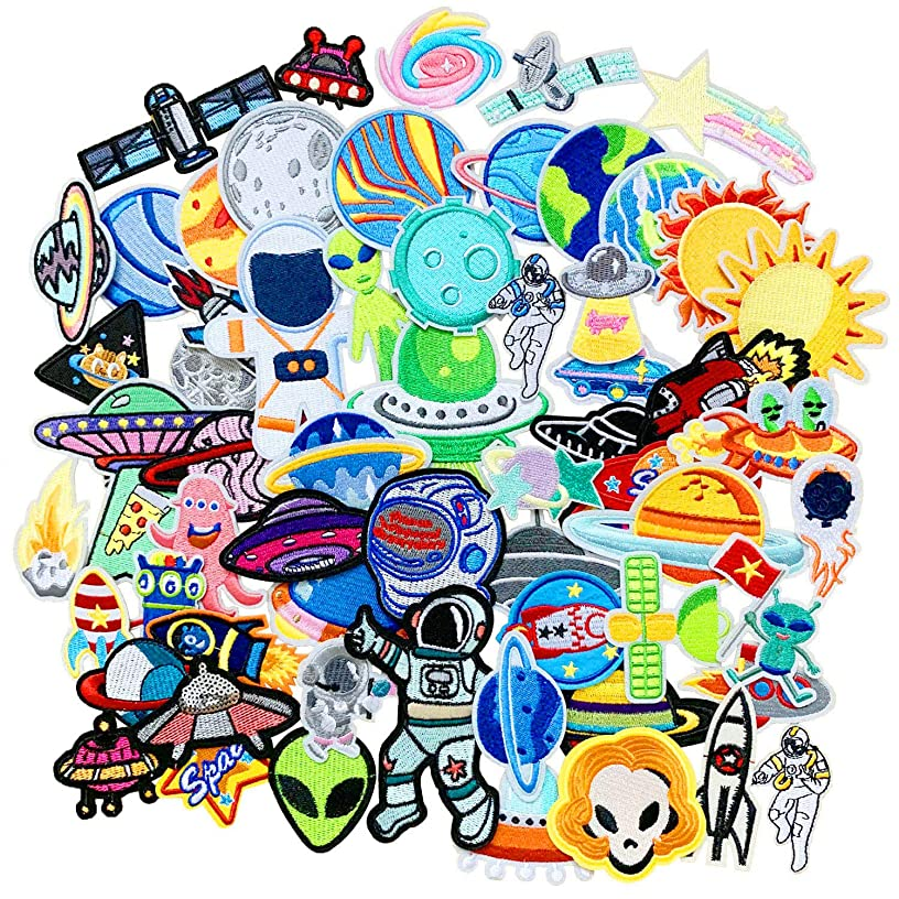 SIX VANKA 62pcs Space Planets Patches Random Assorted Iron On Embroidered Universe Applique Sew on for Kids DIY Crafts Clothes Backpacks Shoe