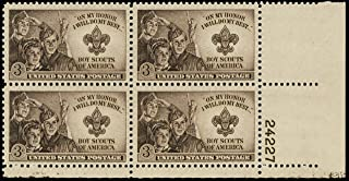 USA 1950 Boy Scouts of America Plate Block of 4 Postage Stamps, Catalog No 995