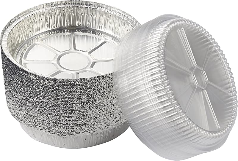 Round Aluminum Foil Pans 40 Piece Take Out Disposable Tin Pans With Plastic Clear Lids For Baking Roasting Broiling Reheating 9 Inches Diameter