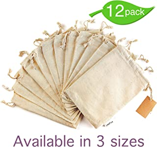 12 Pcs Organic Cotton Reusable Produce Bags, Biodegradable Eco-Friendly Bulk Bin Bags for Food - Small 5x7 - Sachet Bags, Fruit Vegetable Storage, Drawstring Pouch - Produce Linen Bag by Leafico