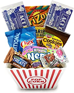 Movie Night Popcorn and Candy Gift Basket Plus Free Redbox Movie Rental Code Gift Card - Birthday, Get Well, Halloween, Christmas (Deluxe Movie Night)