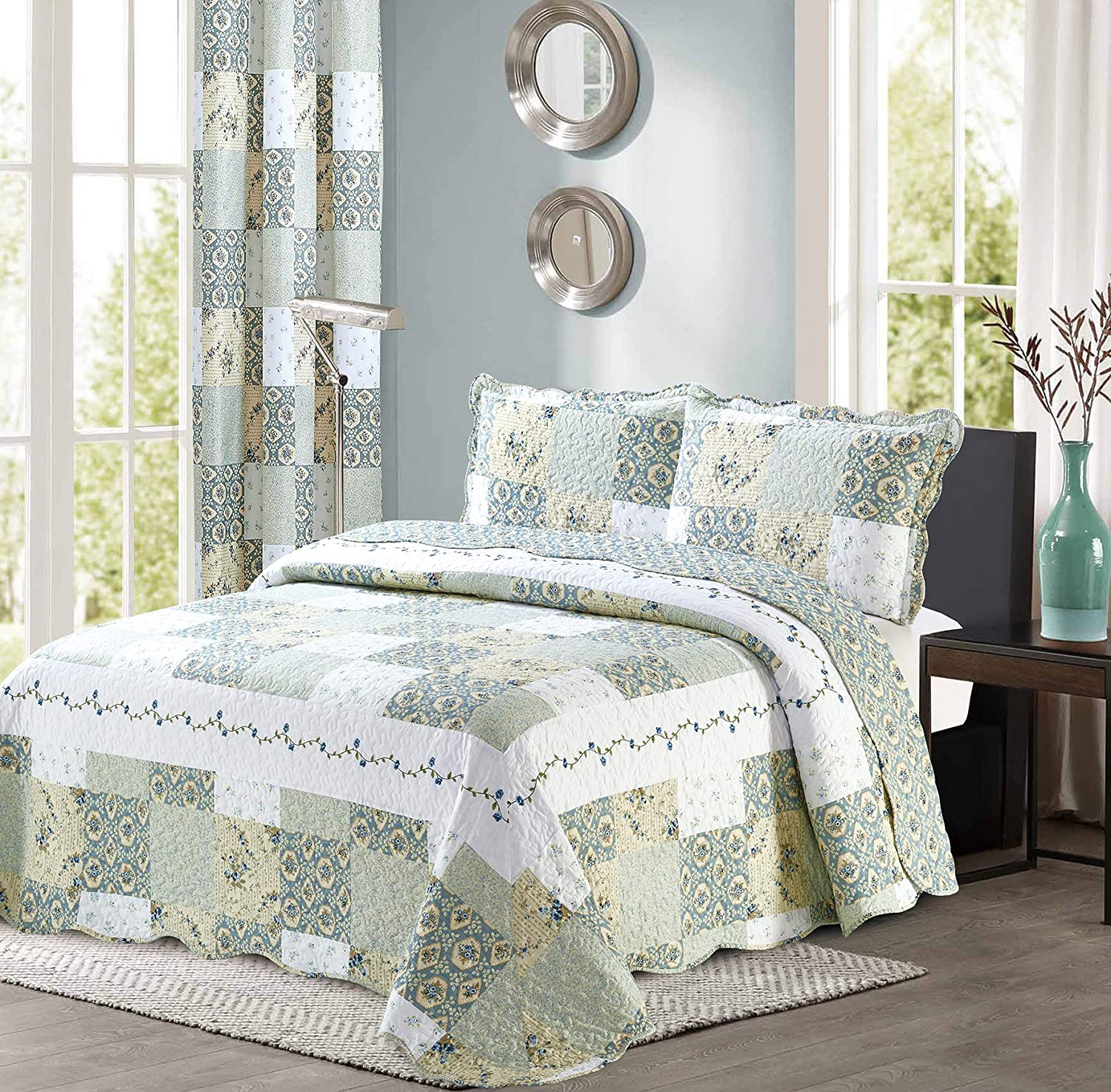 All American Collection New Reversible 2pc Floral Printed Patchwork Blue/Green Bedspread/Quilt Set Matching Curtains Available (Twin Size)