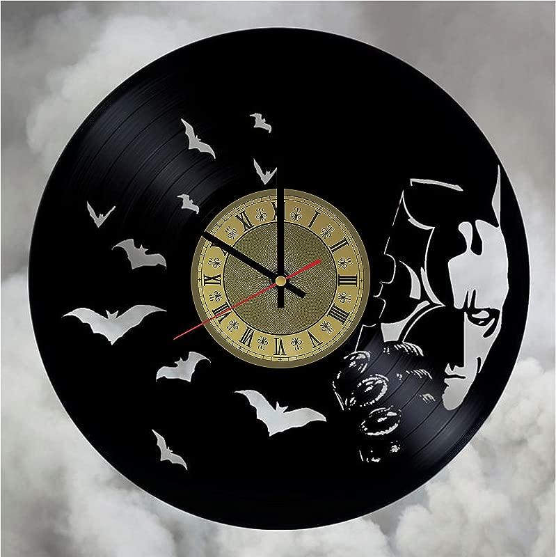 Pieceful Batman Artwork Vinyl Record Wall Clock Gift Idea For Birthday Christmas Women Men Friends Girlfriend Boyfriend And Teens Living Kids Room Nursery Gold Black