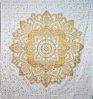 ANJANIYA Gold Floral Mandala Bohemian Tapestry Wall Hanging Boho Small Tapestry Poster Hippie Psychedelic Tapestries