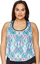Amazon Brand - Coastal Blue Women's Plus Size Swimwear 2 for 1 Apron Back Tankini Top