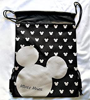 Disney Mickey Mouse Drawstring Backpack Sling Tote School Sport Gym Bag  (Silver) c9e5a33482558