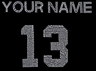 Custom Number and Name Rhinestone Iron On Transfer for Football Mom Bling DIY, Max 11 LTRS, Plus Star Decal