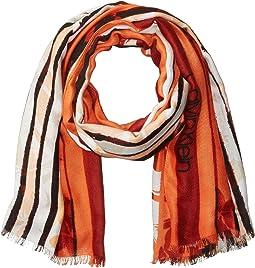 Striped Floral Print Pashmina