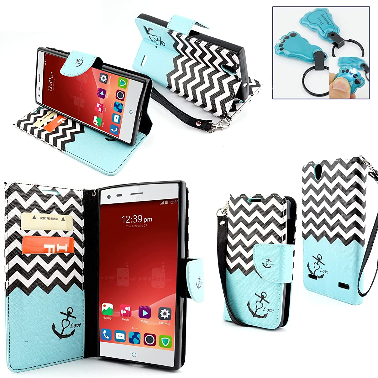 ZTE Warp Elite Case, Customerfirst Magnetic Leather Folio Flip Book Wallet Pouch Case Cover With Fold Up Kickstand and Wrist Strap For ZTE Warp Elite (Boost Mobile) - Includes Key Chain (Zebra Teal)