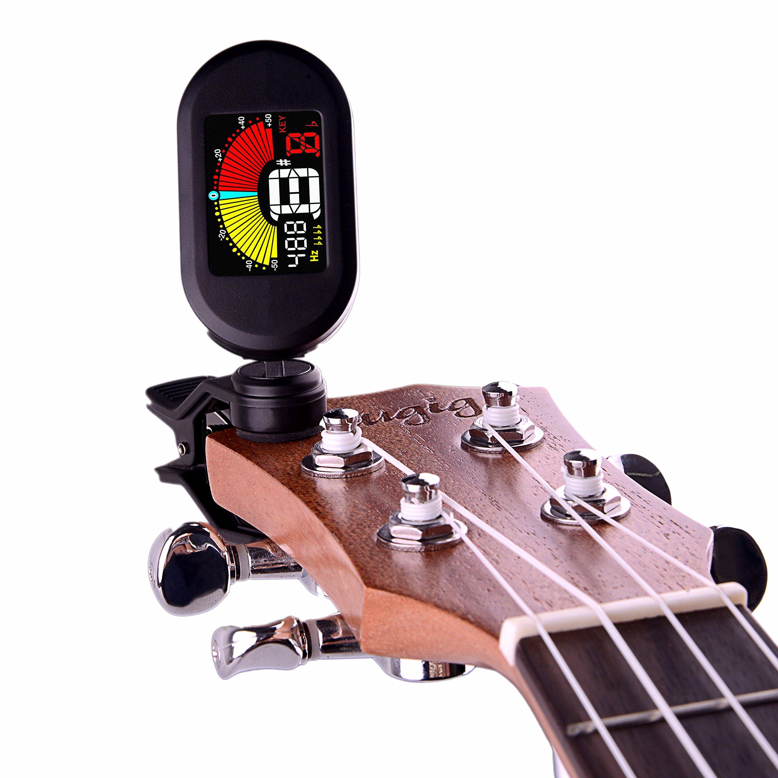 Mugig Afinador Clip para Guitarra Eléctrica Bajo Violín Ukulele ...