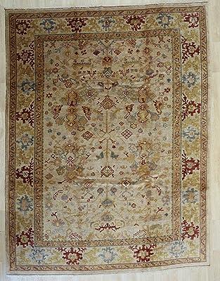 EORC Handmade Mohair Beige Trasitional All Over Angora Oushak Rug, 9'1 X 12'1