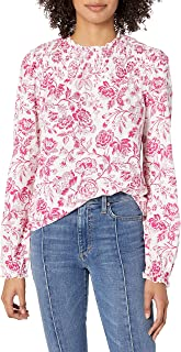 Lucky Brand Women's Long Sleeve Floral Smocked Yoke Peasant Top