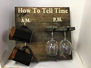 How To Tell Time, AM PM coffee and wine Dark Walnut