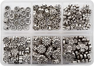 BRCbeads Top Quality Assorted Flower Tibetan Silver Flower Metal Spacer Beads Mix Lot 120pcs per Box For Jewelry Making Findings (Included Plastic Container)