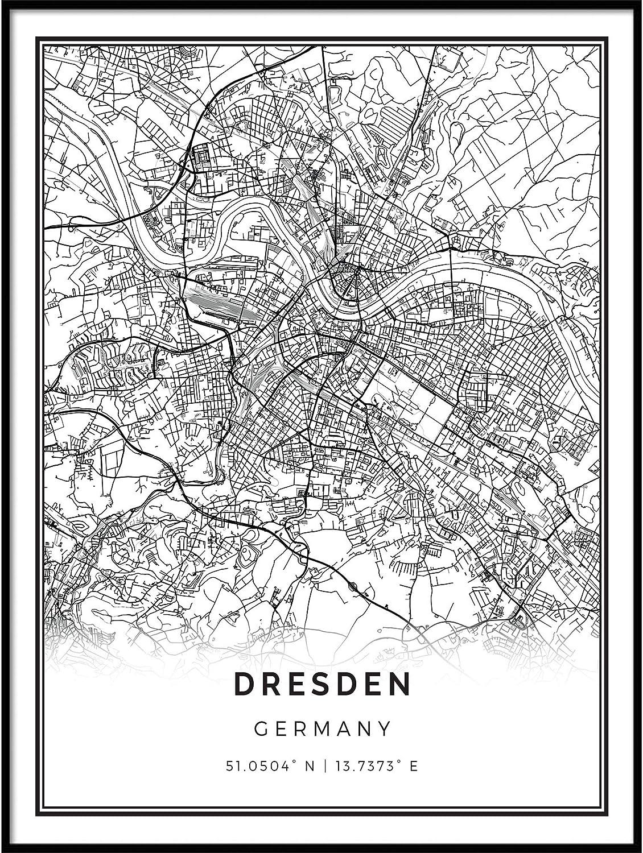 Squareious Dresden map Poster Print   Modern Black and White Wall Art    Scandinavian Home Decor   Germany City Prints Artwork   Fine Art Posters  20x20