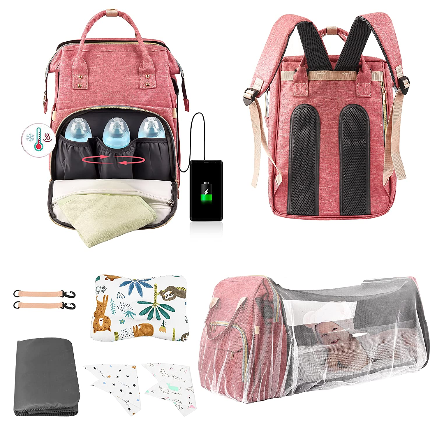 9in1 Diaper Bag with Changing Station, AKSHITHAA Waterproof Diaper Baby Bag for Boy Girl, Foldable Bassinet Bed, Unique Sunshade, Soft Baby Pillow 2X) Bib and USB Charge Port (Pink)
