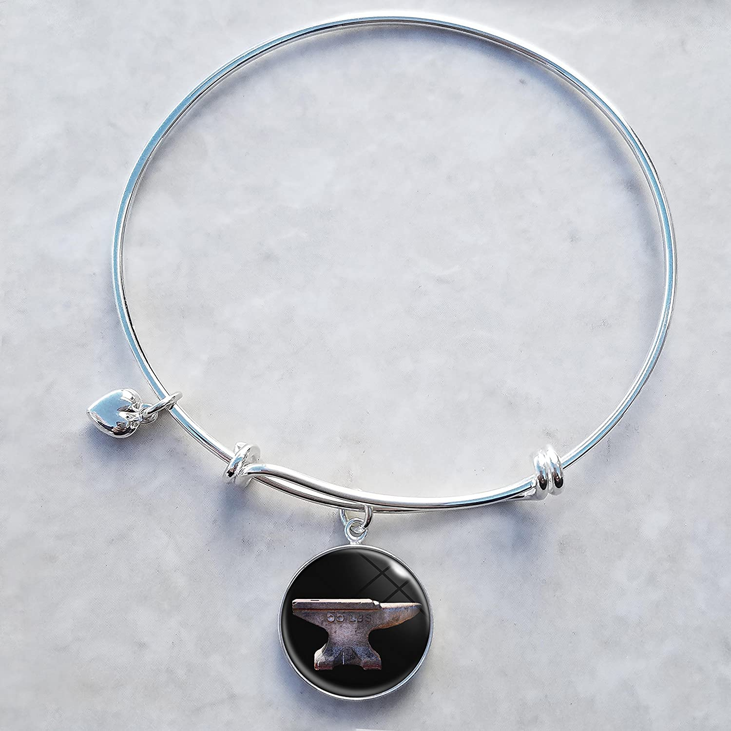 Anvil Sterling Ultra-Cheap Deals Max 63% OFF Silver Expandable Bracelet Wire Bangle Charm