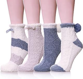 Calcetines de invierno con forro de sherpa para mujer Azul azul Talla única