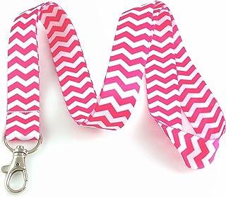 Rose vif Chevron Lanyard Porte-clés badge d'identification support