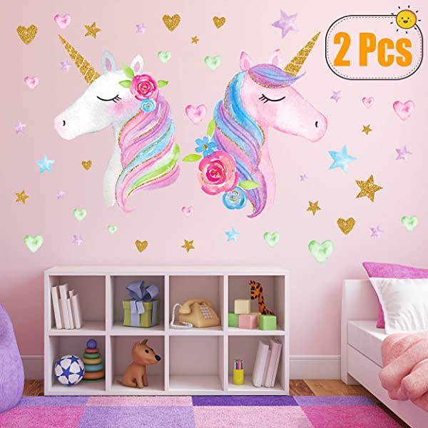 2 Sheets Large Size Unicorn Wall Decor Removable Unicorn Wall Decals Stickers Decor For Gilrs Kids Bedroom Nursery Birthday Party Favor Neasyth Store 9 99 2 PCS