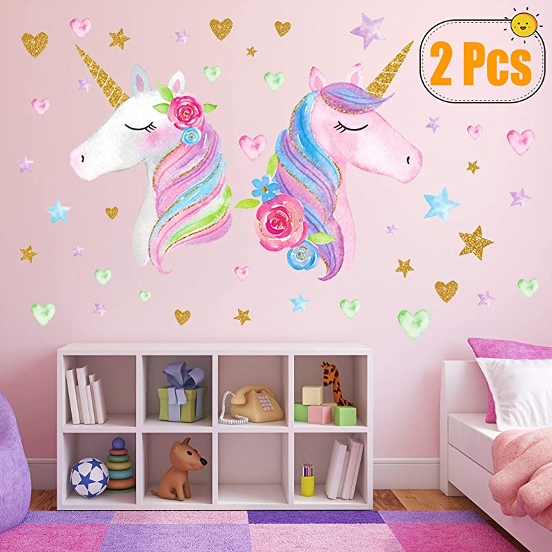 2 Sheets Large Size Unicorn Wall Decor Removable Unicorn Wall Decals Stickers Decor For Gilrs Kids Bedroom Nursery Birthday Party Favor Neasyth Store 9 99