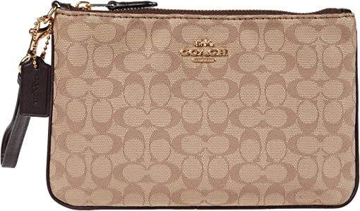 코치 박스 프로그램 뉴 시그니처 파우치 COACH Box Program New Signature Jacquard Small Wristlet,GD/Khaki