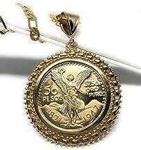 Fran & Co. Gold Plated Mexican Coin Mexican Centenario Mexicano Replica de Oro Laminado Con Cadena de 26