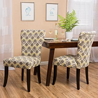 Christopher Knight Home Cailee Fabric Dining Chair, Yellow/Gray