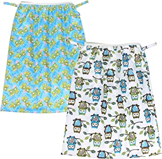 Teamoy (2 Pack) Reusable Pail Liner for Cloth Diaper/Dirty Diapers Wet Bag, Owls Green+Frogs
