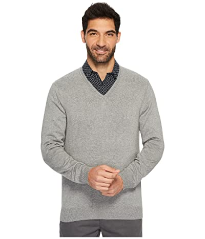 Perry Ellis Classic Solid V-Neck Sweater (Smoke Heather) Men