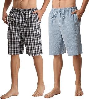 Mens Pyjama Bottoms 2 Pack Cotton Lounge Shorts Nightwear Soft Comfy Pjs Bottoms Checked Summer Shorts