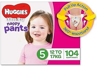 Huggies Ultra Dry Nappy Pants, Girls, Size 5 Walker (12-17kg), 104 Count