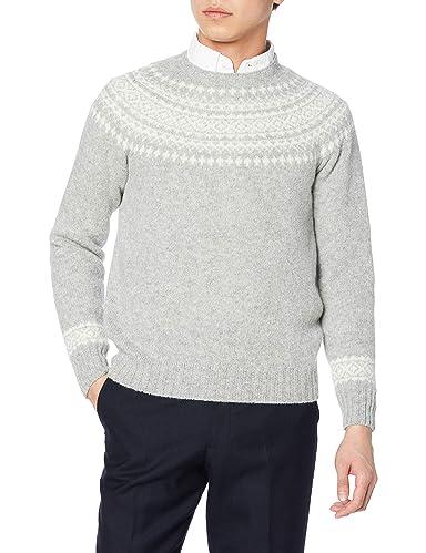 Yoke Pattern Crewneck Sweater M3170: Silver / White