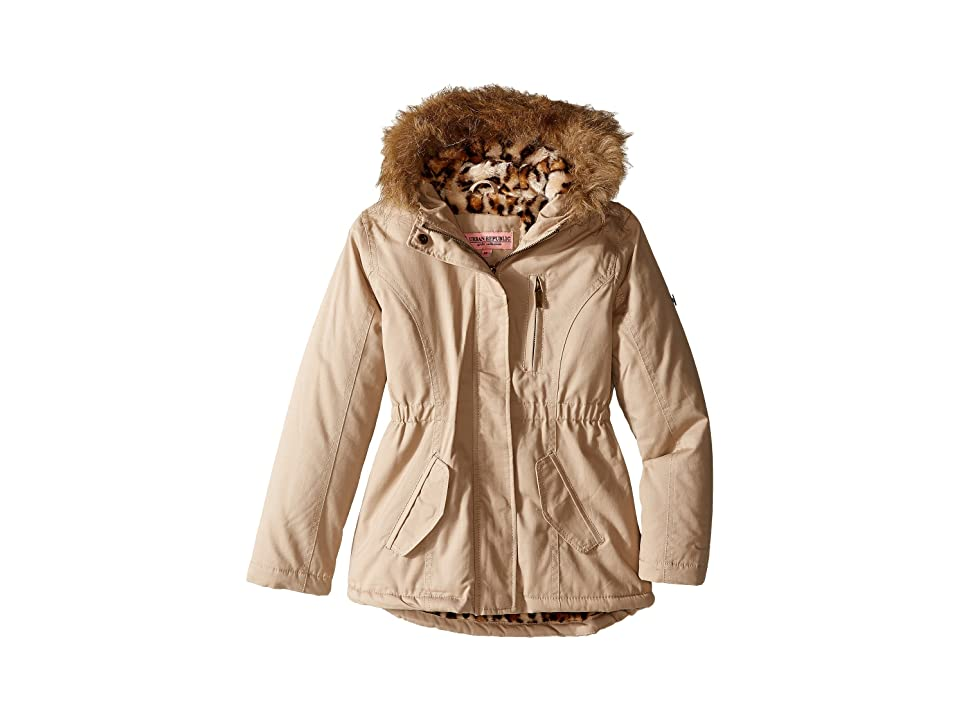 Urban Republic Kids Cotton Twill Jacket W/Fur Trim (Little Kids/Big Kids) (Stone) Girl