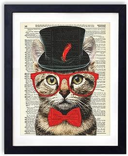 Mr. Catsanova Gentleman Cat Vintage Upcycled Dictionary Art Print - 8x10 inches