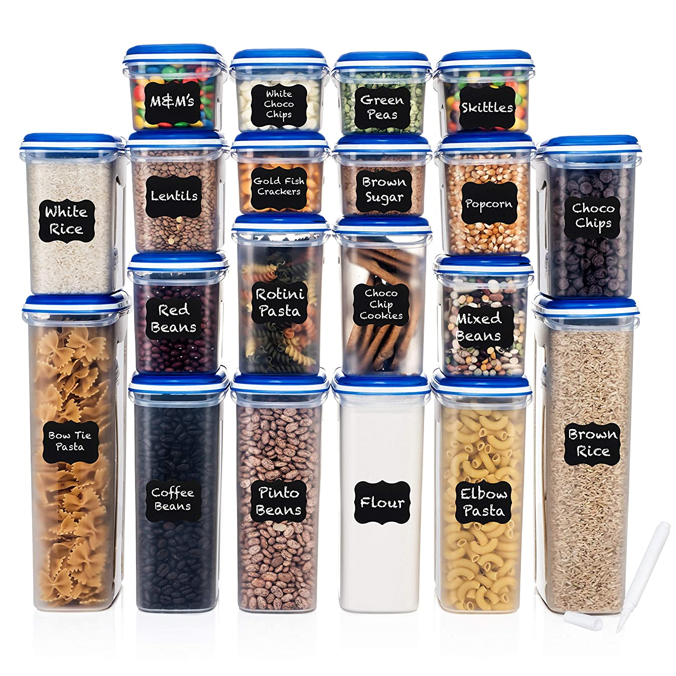 LARGEST Set of 40 Pc Food Storage Containers (20 Container Set) Shazo Airtight Dry Food Space saver w/Innovative Dual Utility Interchangeable Lid, FREE 27 Chalkboard Labels + Marker - One Lid Fits All