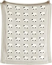 Creative Co-Op Cotton Knit Baby Blanket with Sheep, 40 L x 32 W, Grey