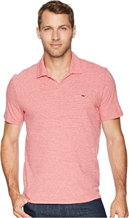 Striped Linen Cotton Johnny Collar Polo