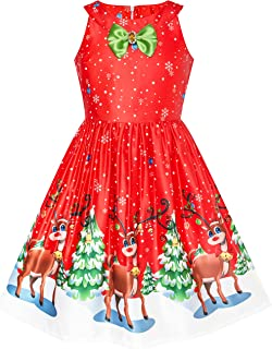 Sunny Fashion Girls Dress Christmas Eve Christmas Tree Snow Reindeer Party