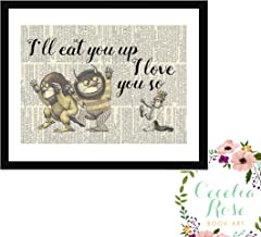 Where The Wild Things Are I'll Eat You Up I Love You So Maurice Sendak Childrens Nursery Farmhouse Literary Typography Vintage Book Page 8x10 Unframed Print