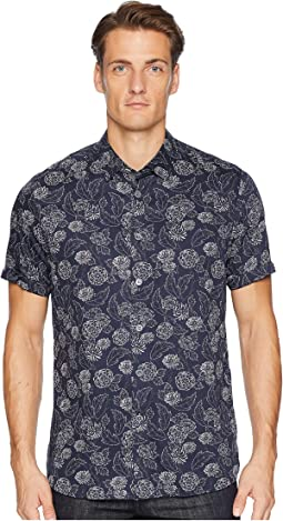 Teval Short Sleeve Dotted Floral Printed Shirt