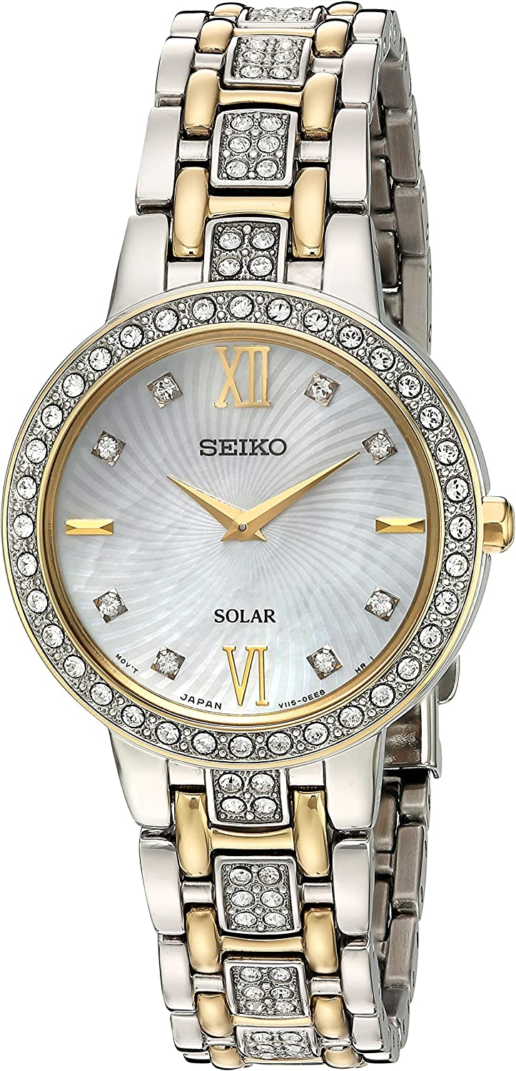 Seiko Womens Ladies Crystal Dress Stainless Steel Japanese-Quartz Watch with Stainless-Steel Strap, Two Tone, 14 (Model: SUP360)