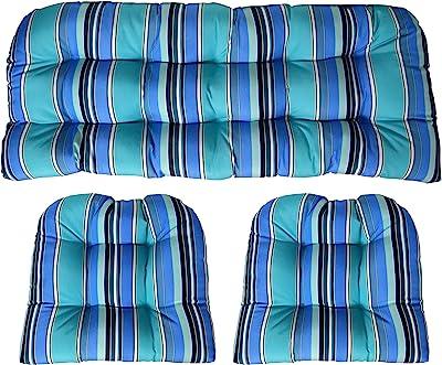 Sunbrella Dolce Oasis 3 Piece Wicker Cushion Set - Indoor / Outdoor Wicker Loveseat Settee &