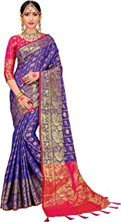 ELINA FASHION Sarees for Women Patola Art Silk Woven Work Saree l Indian Bollywood Wedding Ethnic Sari with Blouse Piece