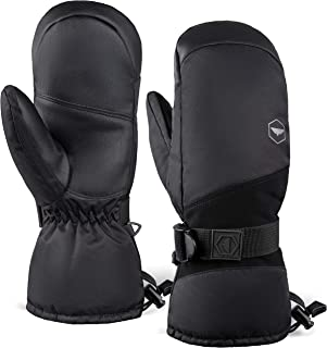 Winter Snow & Ski Mittens with Wrist Leashes - Mitts Designed for Skiing, Snowboarding, Shoveling - Waterproof Nylon Shel...